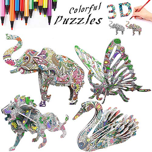 3D Coloring Painting Puzzles Set (4 Pack)-DIY Arts and Crafts for Girls & Boys-Perfect Creativity Kit & Ideal Kids and Adults Gifts! -STEM Educational Assembly Toys (Gift Basket For 10 Year Old Boy)