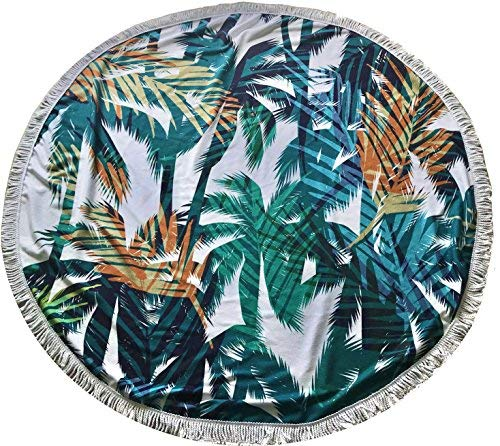 """The Art of Calm 59"""" Round Circle Beach Blanket/Towel Fringe - Soft Absorbent Microfiber Summer 2018 Palm Trees"""