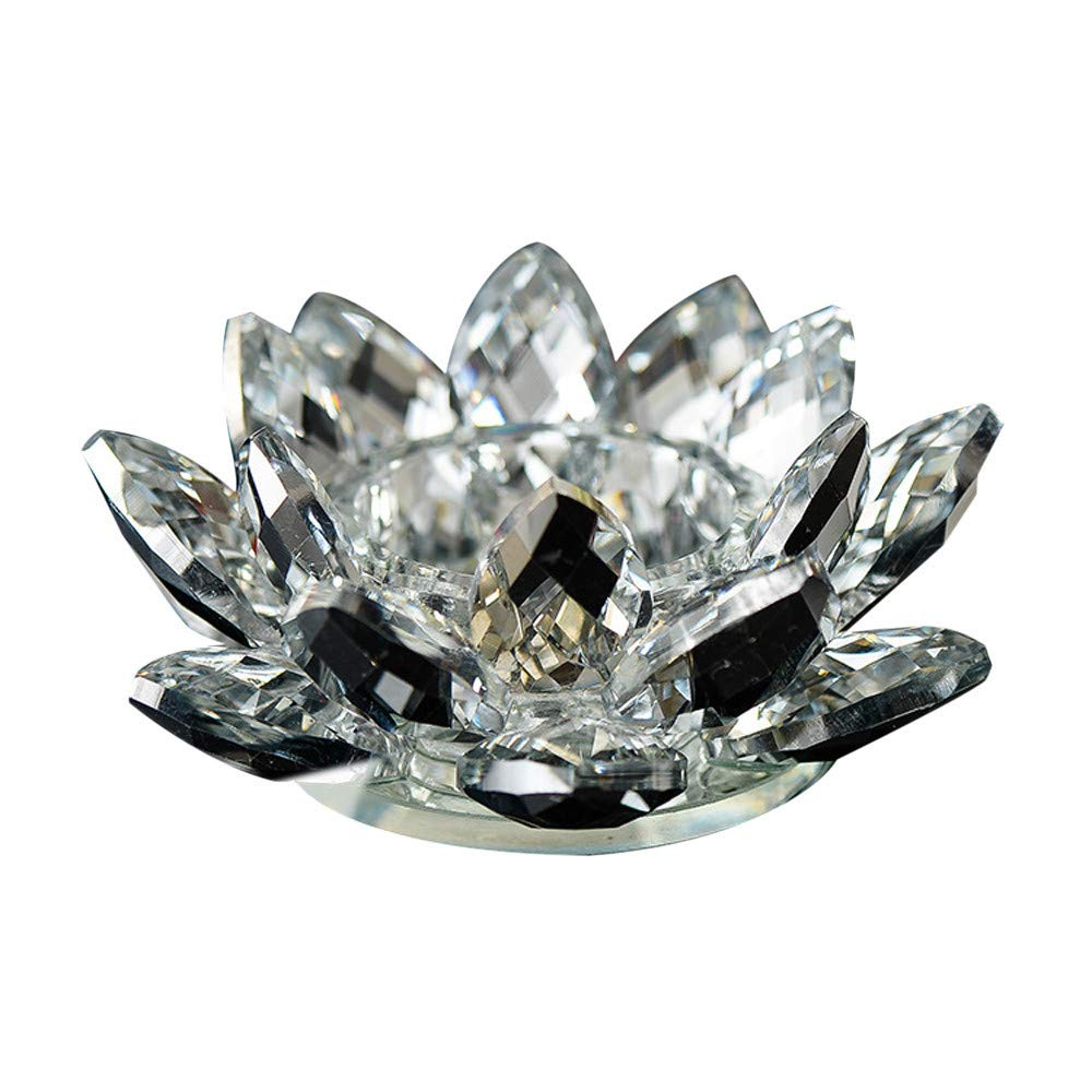 7 Colors Crystal Shiny Glass Lotus Flower Candle Tea Light Holder Buddhist Candlestick for Bedroom Office Under 5 Dollars[Hot Sale] (White)