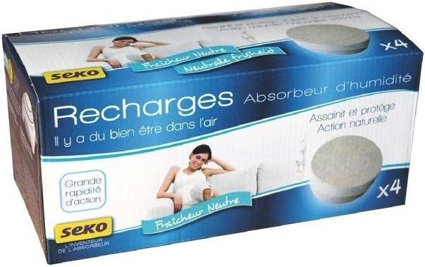 Seko R4 X500 Tabs Neutre Lot de 4 Recharges Galets de 500 g Neutre pour absorbeurs dhumidit/é