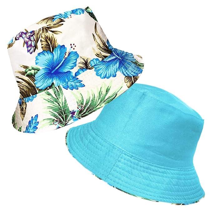 Fischerhutdesign Reversibel Baumwolle TOSKATOK/® UPF 50+ Damen Buschsonnenhut im Retrolook mit Blumenmuster beidseitig tragbar