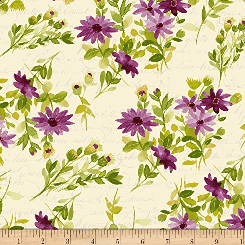 Clothworks Fresh Picked Flowers Dark Eggplant Fabric By The (Clothworks Cotton)