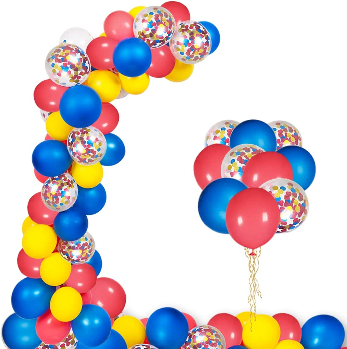 NPLUX Circus Balloons Arch Kit 130pcs Red Blue Yellow Confetti Latex Balloons Garland for Birthday Graduation Carnival Party Decor