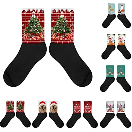 Socks Navidad 3D Novedad Impresa Calcetines Mujer Hombres Calcetines Antideslizantes Calcetines de Deporte Calcetines Térmicos para Adult Unisex Calcetines: ...