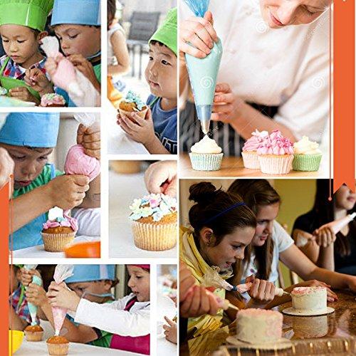 Baker's Dozen Premium Cake Decorating kit 50pcs.Cake Decorating Supplies/Baking Supplies-36pc Piping Tips(unnumbered),Silicone pastry bag,Icing tips Coupler,BONUS x10 Piping Bags,eBook Cake Decorating