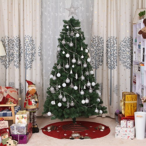 Sea Team 47'' Luxury Collection Cotton Blend & Non-woven Fabric Double-layer Applique Christmas Tree Skirt with Stereoscopic Pop Christmas Elements, Burgundy by Sea Team (Image #6)