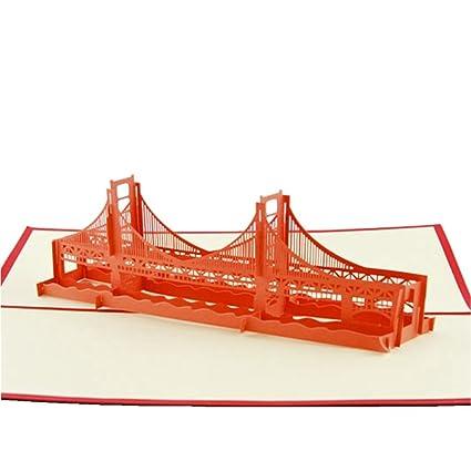 Amazon isharecards handmade paper sculpture 3d pop up greeting isharecards handmade paper sculpture 3d pop up greeting cards world famous bridges golden gate m4hsunfo