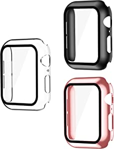 Smiling 3 Pack Case Compatible with Apple Watch Series 6/SE/Series 5/Series 4 40mm with Built in Tempered Glass Screen Protector- All Around Hard PC Case Overall Protective Cover(Clear/Black/Rose)