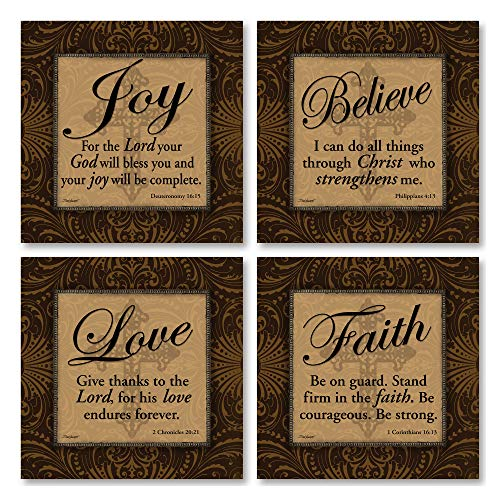 Gango Home Decor Classic Religious Quotes; 1 Corinthians 16:13, Deuteronomy 16:15, 2 Chronicles 20:21, Philippians 4:13; Four 8x8in MDF Mounted Fine Art Prints; Ready to hang!