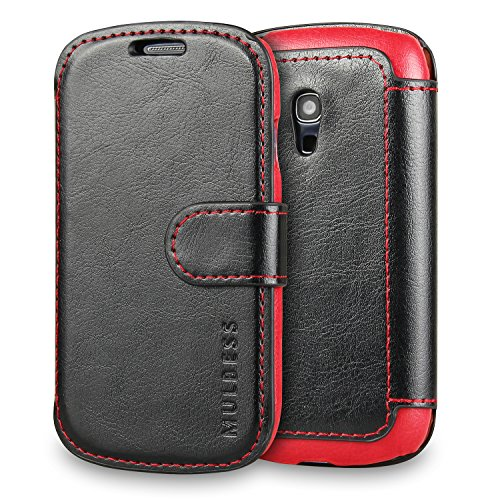 Galaxy S3 mini Case Wallet,Mulbess [Layered Dandy][Vintage Series][Black] - [Ultra Slim][Wallet Case] - Leather Flip Cover With Credit Card Slot for Samsung Galaxy S3 mini i8190 (Leather Samsung S3 Mini compare prices)