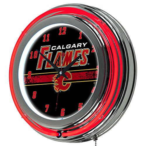 Trademark Gameroom NHL Calgary Flames Chrome Double Rung Neon Clock (Flames Neon Clock)