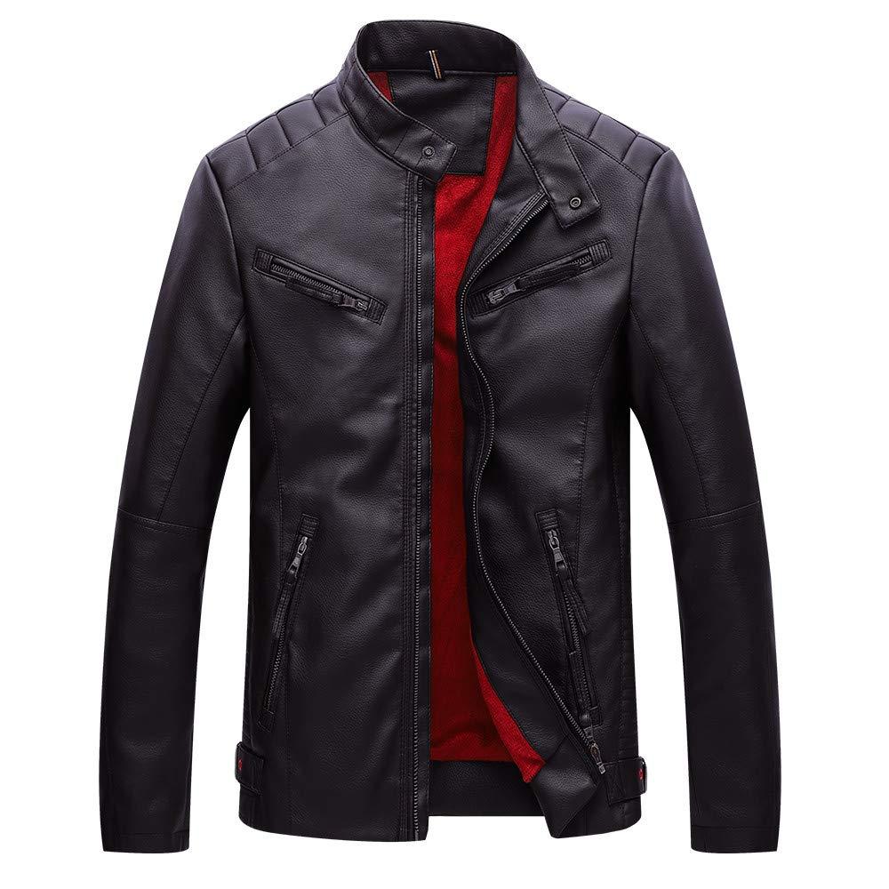 Coffee 4XL Coffee 4XL Ennglun Mens Windbreaker,Men's Winter Thermal PU Leather Jacket Tops Coat,Jacket Leather Men