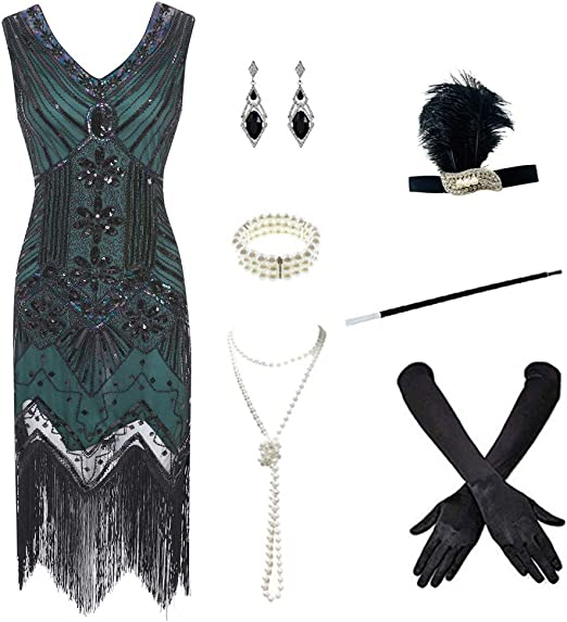 LADIES FRINGE FLAPPER DRESS HEADPIECE 20S 30S FANCY DRESS COSTUME PLUS SIZE XXL