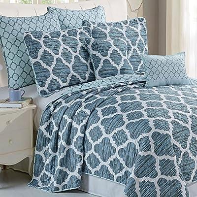 "Serenta 7 Piece Printed Microfiber Bedspread Quilts Set, King Honor - King Coverlet: 102"" x 90"" (2) King Shams - 20"" x 36"" + 2"" (2) Euro Shams - 26"" x 26"" - comforter-sets, bedroom-sheets-comforters, bedroom - 61p3rFyzJIL. SS400  -"