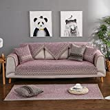 Sofa cover Cotton Sofa slipcover Sectional Vintage Anti-slip Stain resistant Decorative Sofa protector Cushion covers For Living room-purple Pillowcase 45x45cm(18x18inch)