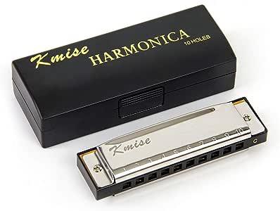 Blues Harmonica Harp 10 Hole Key C Mouth Organ for Beginner by Kmise
