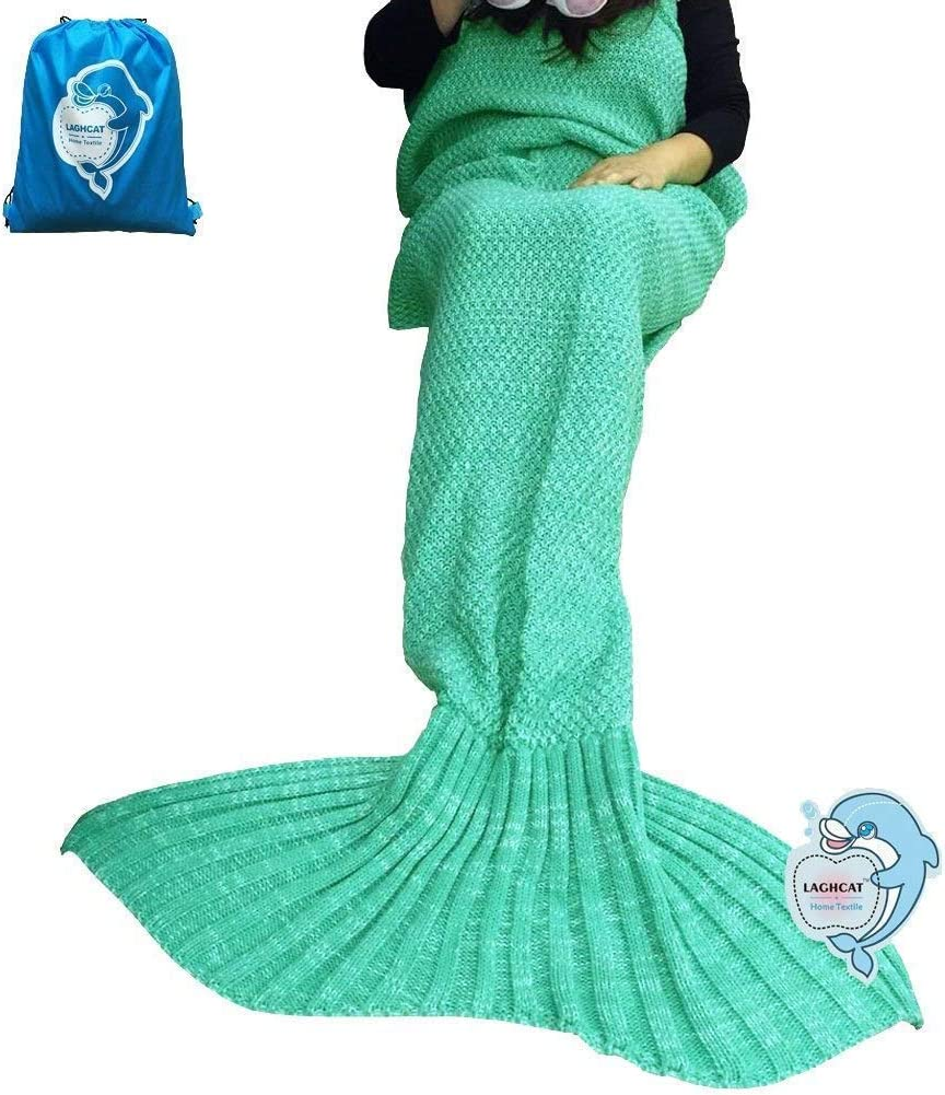 LAGHCAT Mermaid Tail Blanket Crochet Mermaid Blanket for Adult, Soft All Seasons Sleeping Blankets, Classic Pattern - 71x35.5 Inch, Green