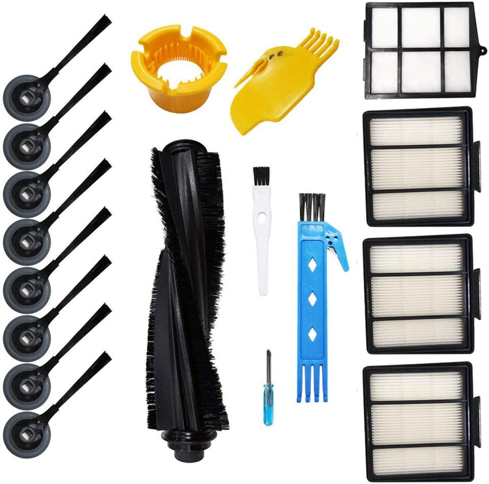 Theresa Hay Accessories Kit for Shark ION Robot S87 R85 RV850 R87 R76 RV871 RV761 Vacuum Cleaner Replacement Parts 1 Main Brush & 1 Primary Filter & 3 Hepa Filters & 8 Side Brushes