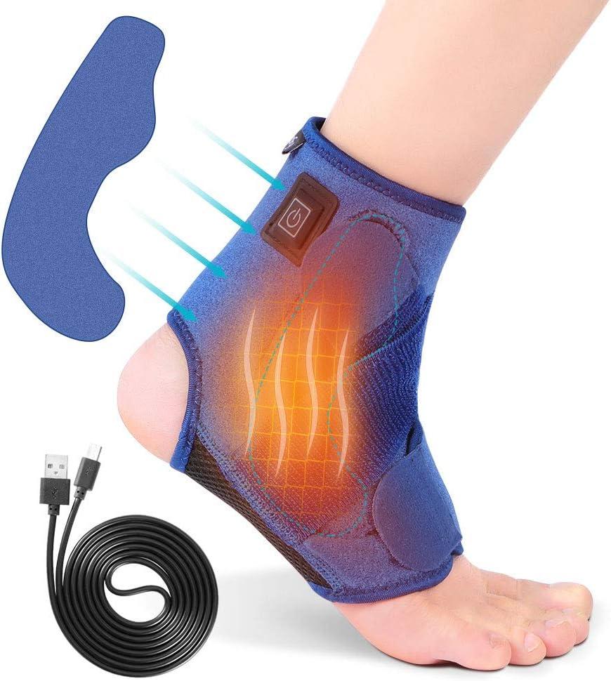 Tobillera Calentada Terapia de Calor para Tobillo con 3 Temperaturas para Esguince, Lesiones, Tendinitis de Hinchazón USB Térmica Tobillo Adecuado para Pies Izquierdo y Derecho(Azul)