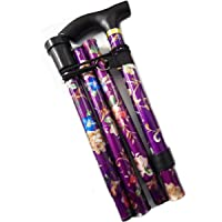 Folding Walking Stick Purple Floral Fashionable for Women Portable for Travel - Strong Lightweight Non-Slip Aluminium