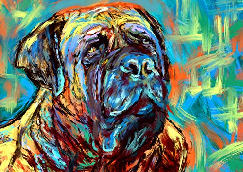 nt, BullMastiff Gifts, Mastiff dogs, Dog painting Wall Art, Colorful Modern Bull mastiff decor hand signed by Oscar Jetson ()