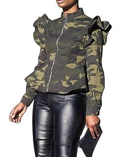 Amazon.com: Mycherish - Chaqueta militar para mujer, cuello ...