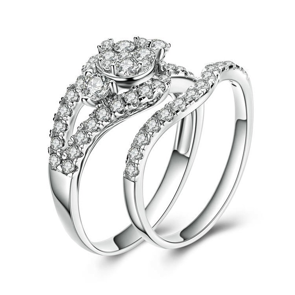 a92aa21963064 Amazon.com: MoAndy 925 Sterling Silver Ring, Sparkling CZ Wedding ...