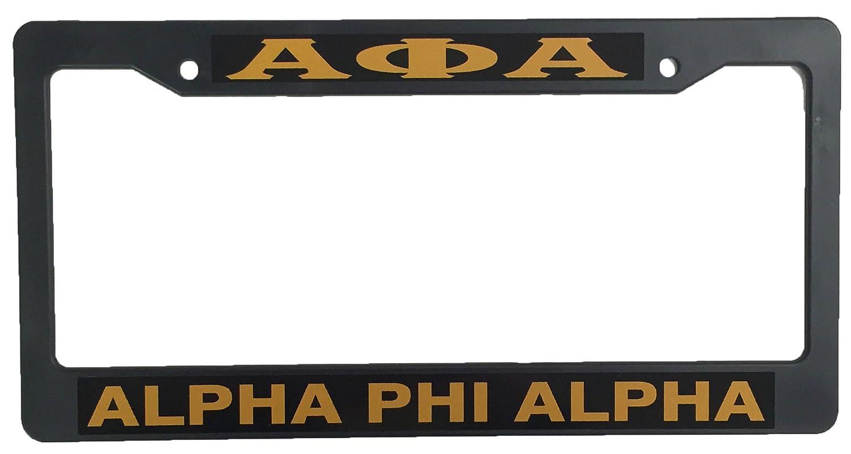 Amazon.com: Alpha Phi Alpha Black Plastic License Plate Frame Greek ...