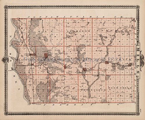 - Mills County Iowa Map Antique Andreas 1875 Authentic Decor History Ancestry Housewarming Gift Ideas