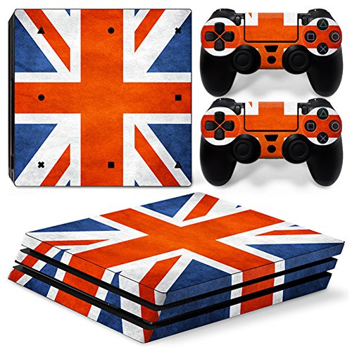 Price comparison product image Chickwin PS4 Pro Vinyl Skin Full Body Cover Sticker Decal For Sony Playstation 4 Pro Console and 2 Dualshock Controller Skins (Flags UK)