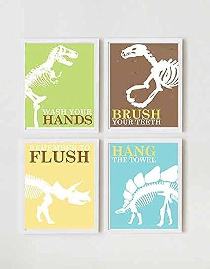 Attirant Adorable Dinosaur Children Bathroom Wall Decor (Set Of Four)