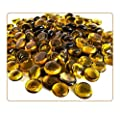 """MagicWater Supply Amber Flat Marble Glass Gems - 2 LB (Pound) - Flat Marble Vase Fillers, Table Scatter, Aquarium Décor, Pebbles - Approx. 3/4"""" Diameter"""