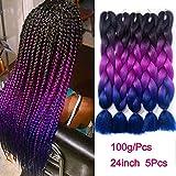 Ombre Braiding Hair Kanekalon Synthetic Braiding Hair Extensions Black-Purple-Blue Jumbo Braids 24inch 5pcs/lot