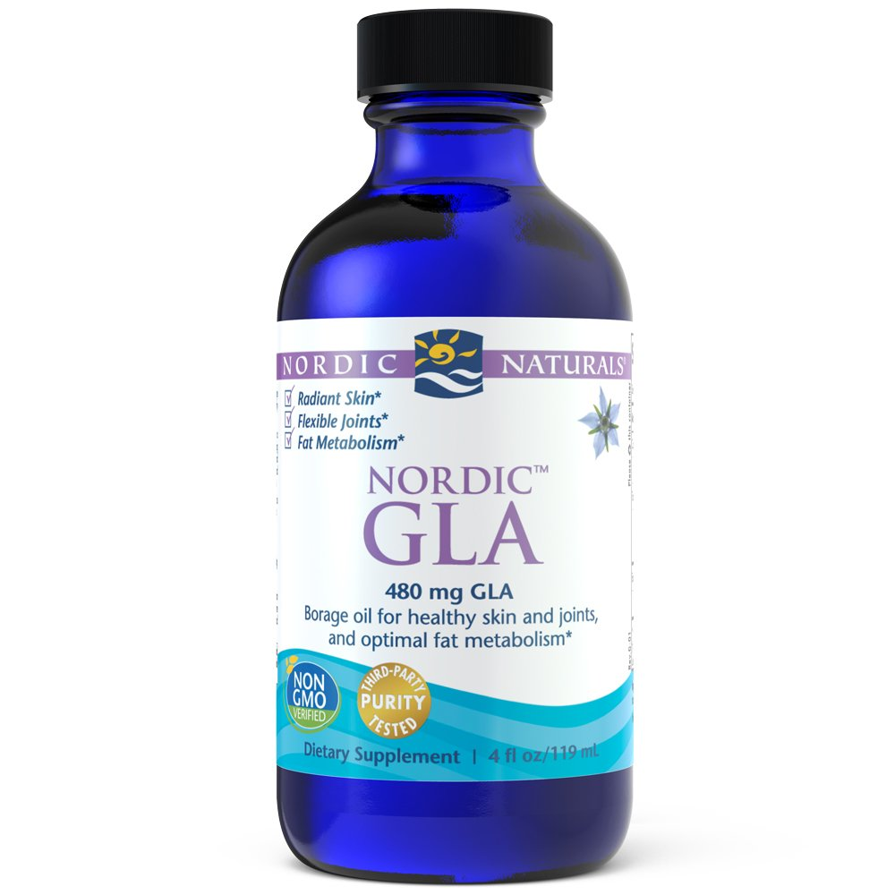 Nordic Naturals Nordic GLA Unflavored - 100 Percent Vegetarian Borage Oil, Supports Healthy Skin, Joints, and Optimal Fat Metabolism*, 480 mg GLA Per Serving, 4 Ounces by Nordic Naturals