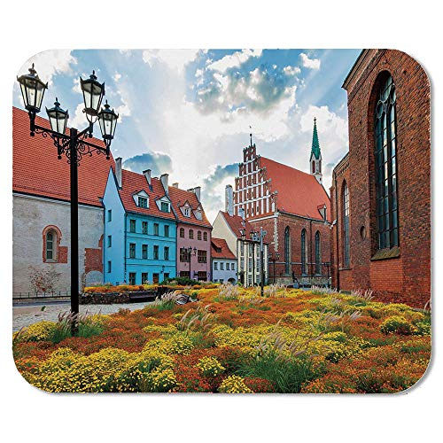 (Victorian Decor Custom Mouse Pad,Old City Riga Latvia Capital with Historical Buildings Medieval Town Image Decorative for Electronic Games Office,7.87''Wx9.45''Lx0.08''H)
