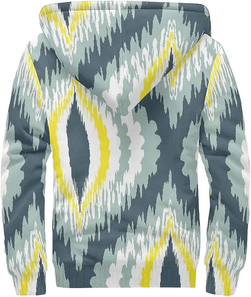 QXGIAO Mens Full-Zip Hoodies Wool Warm Thick Pattern Sweatshirt