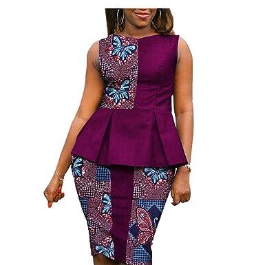 Amazon.com: Vestidos Africanos para Mujer 2 Piezas Traje ...