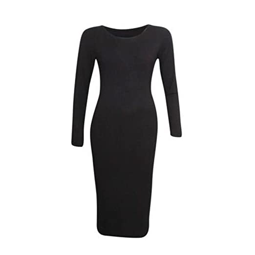 PaperMoon Womens Plus Size Plain Midi Dress - Black - US 20-22 (UK