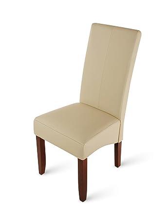 SAM® Esszimmerstuhl Luiz in creme mit kolonial farbigen Beinen aus Pinien Holz, Stuhl mit SAMOLUX® Bezug, angenehme Polsterung, pflegeleichter Stuhl