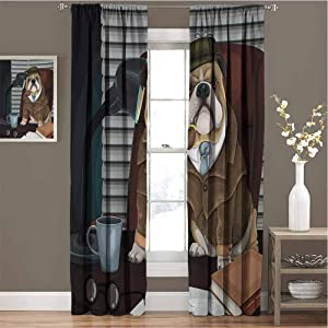Toopeek English Bulldog Blackout Curtain Traditional English Detective Dog with a Pipe and Hat Sherlock Holmes Image 2 Panels W84 x L84 Inch Multicolor