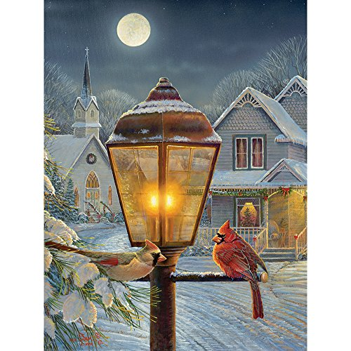 Bits and Pieces - 300 Large Piece Jigsaw Puzzle for Adults - Christmas Lights - 300 pc Cardinal, Moon, Winter Jigsaw by Artist Samm Timm