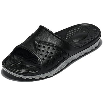 WODEBUY Men's Shower Sandals Antislip Fast Dry Flilp Flop Flats Bathroom Pool Beach Sandals (13 D(M) US, Black) | Sport Sandals & Slides