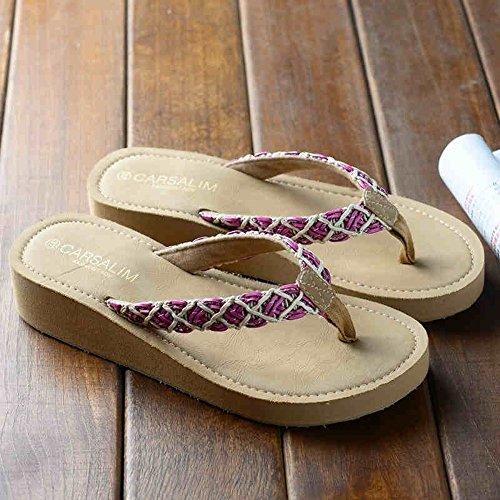 FEI Mädchen Sandalen Sommer Strand Damen Strand Schuhe Mode Dicke Pantoffeln Weibliche Anti-Rutsch Sandalen Für 18-40 Jahre Alt Rutschfest ( Farbe : #1 , größe : EU39/UK6/CN39 ) #2