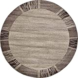 Unique Loom Del Mar Collection Contemporary Transitional Light Brown Round Rug (6' x 6')