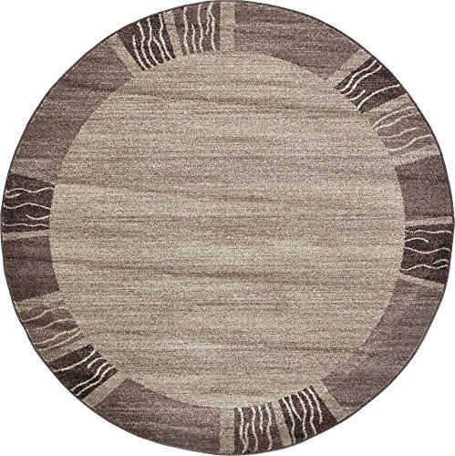 Unique Loom Del Mar Collection Contemporary Transitional Light Brown Round Rug (6′ x 6′)