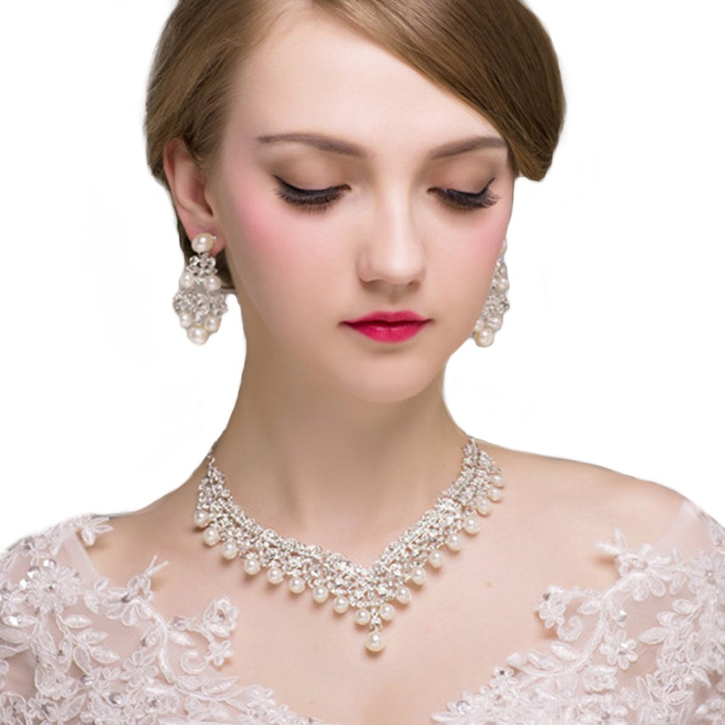 Yean Luxuriant Wedding Bridal Jewelry Set Earrings and Necklaces with Rhinestones and Pearls for Women and Girls
