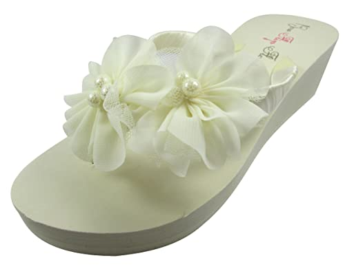 b95bed857dbd Ivory Chiffon Flower Wedge Flip Flops Wedding Bridal White Wedge Bride  Platform Heel Shoes Sandals Beach