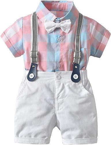 Traje de verano para niño, vestido de caballero, pantalones cortos de tirantes + camisa de manga corta a cuadros adecuados para niños de 0 a 3 años: Amazon.es: Ropa y accesorios