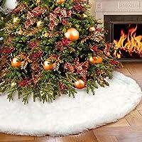 AerWo Faux Fur Árbol de Navidad Falda 48 pulgadas Snowy White Tree Falda para decoraciones de Navidad