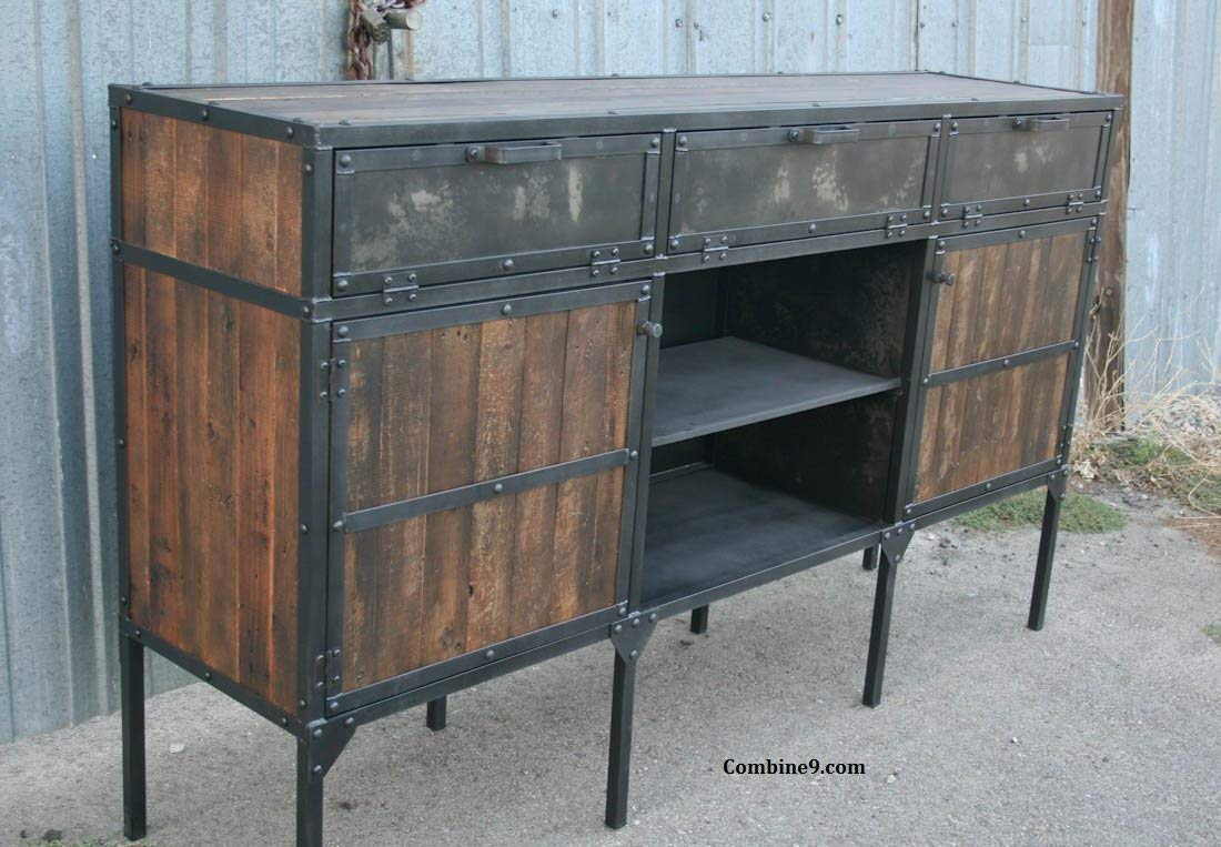 Amazon Com Rustic Credenza Vintage Industrial Buffet Steel And Reclaimed Wood Handmade
